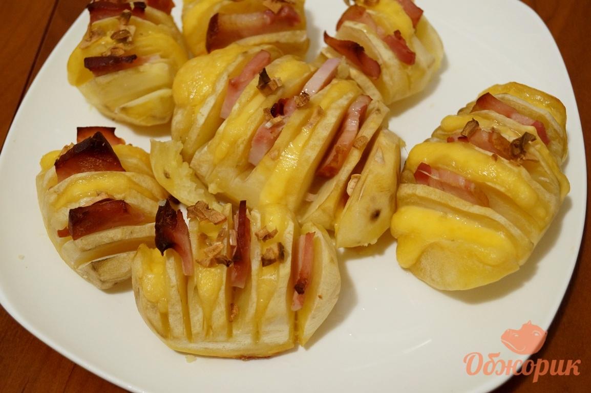 рецепт картошки гармошки в духовке с салом и