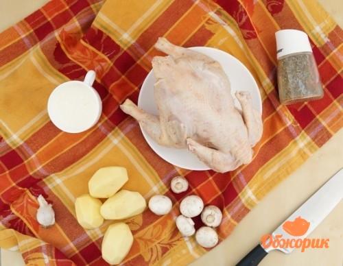 Рецепт картошки с курицей и грибами в духовке