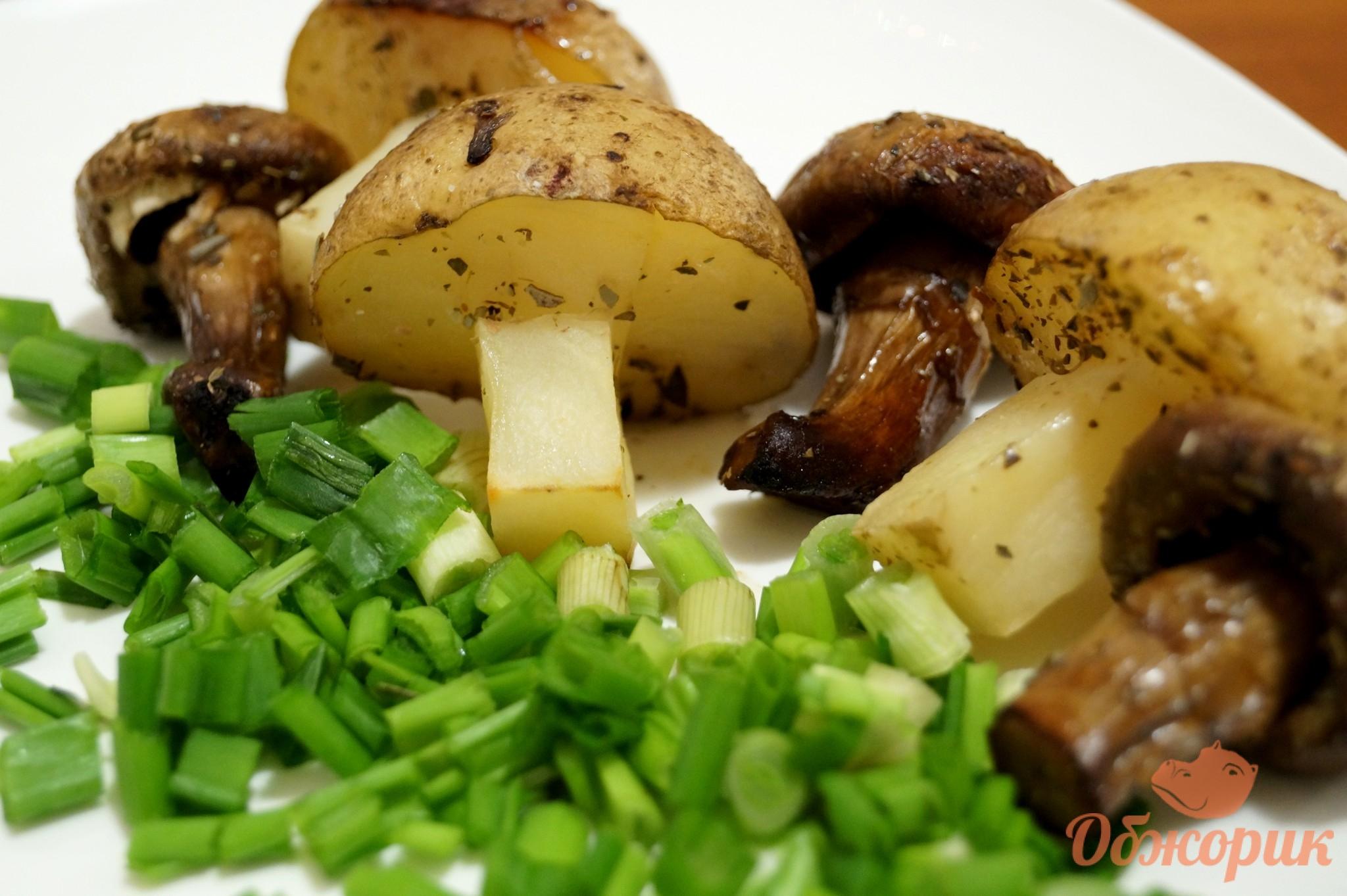 рецепт приготовления картошки в духовке с грибами и