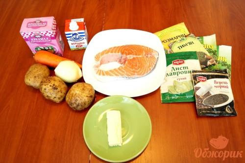 Приготовление сливочного супа с форелью