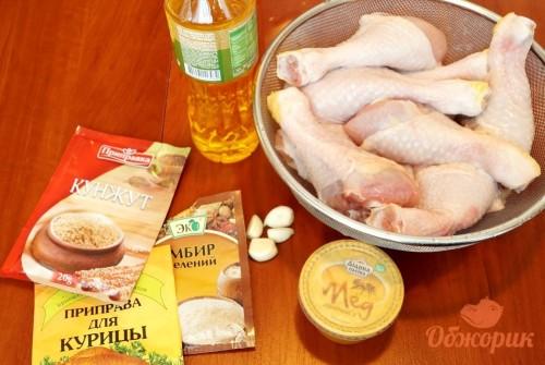 Приготовление курицы с медом и кунжутом
