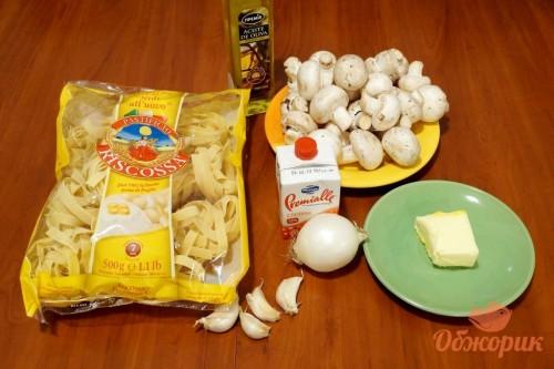 Приготовление феттучини с грибами
