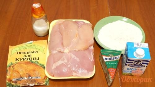 Приготовление куриного филе под сырным соусом