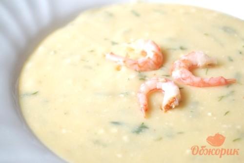 Сливочный крем-суп с креветками