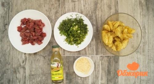Картофель с мясом, зеленью и пармезаном