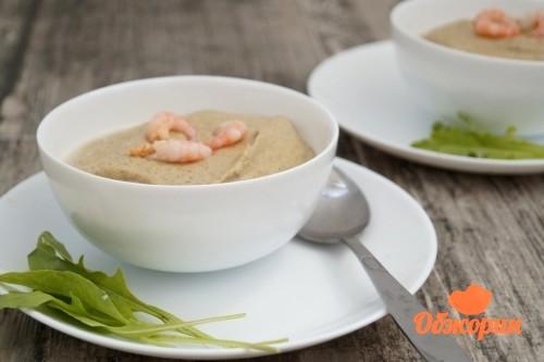 Грибной крем суп с креветками