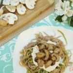 Паста с грибами и соусом бешамель